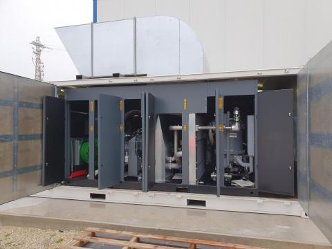 Compressor and dryer installation inside container